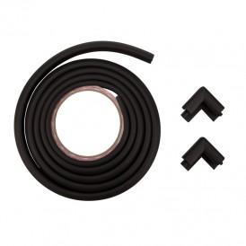 Набор: тонкая мягкая универсальная лента для крепления на острые края (NBR,14*4*2000 мм) + 4 мягкие насадки-протектора