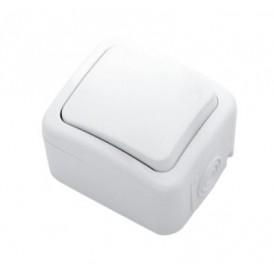 Выключатель одноклавишный KRANZ Mini OG открытой установки, IP54 белый