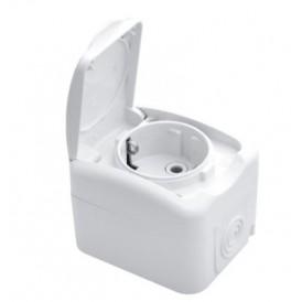 Розетка одноместная KRANZ Mini OG открытой установки с заземлением, керамика, IP54 белая