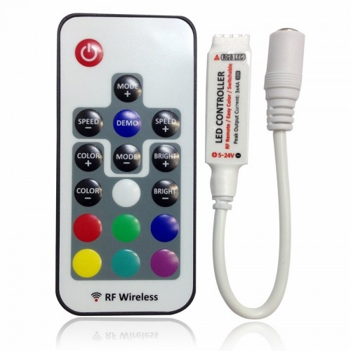 LED мини контроллер радио (RF) 72 W/144 W, 17 кнопок, 12 V/24 V