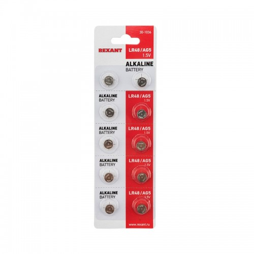 Батарейка LR48, AG5, LR754, G5, 193, GP93A, 393, SR754W REXANT