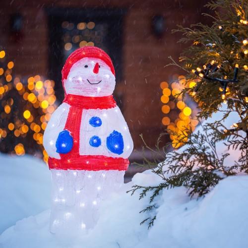 Акриловая светодиодная фигура «Снеговик в синих варежках» 31х25х59 см, IP65, понижающий трансформатор в комплекте NEON-NIGHT
