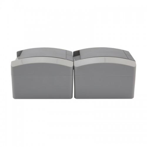 Блок из 2 розеток вертикальный KRANZ INDUSTRIAL открытой установки с заземлением, керамический, IP54 серый