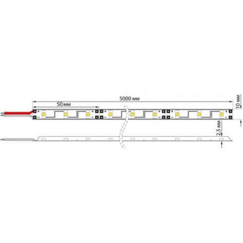 LED лента открытая, 8 мм, IP23, SMD 2835, 60 LED/m, 12 V, цвет свечения теплый белый