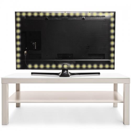 LED лента с USB коннектором 5 В, 8 мм, IP65, SMD 2835, 60 LED/m, цвет свечения теплый белый (3000 K)