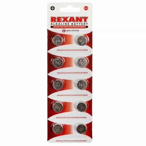 Батарейка LR44, AG13, LR1154, G13, A76, GP76A, 357, SR44W REXANT