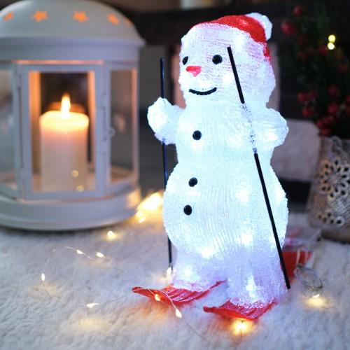 Акриловая светодиодная фигура «Снеговик на лыжах» 16х20х29 см, 30 светодиодов, батарейки 3хАА (не входят в комплект) NEON-NIGHT