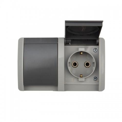 Блок из 2 розеток горизонтальный KRANZ INDUSTRIAL с заземлением открытой установки, IP54, серый
