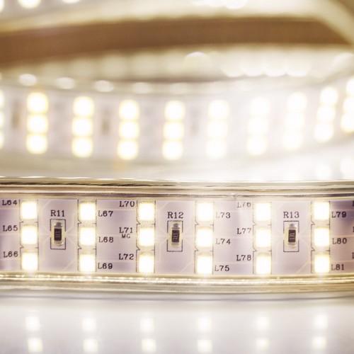 LED лента 220 В, 7.5x20 мм, IP67, SMD 2835, 276 LED/m, цвет свечения теплый белый, 50 м