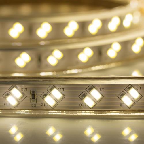 LED лента 220 В, 6.5x17 мм, IP67, SMD 5730, 120 LED/m, цвет свечения теплый белый, 100 м