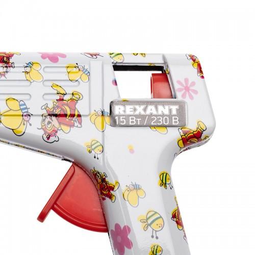 Пистолет клеевой 15 Вт Ø 7 мм малый + набор цветных стержней 12 шт.  (блистер) REXANT