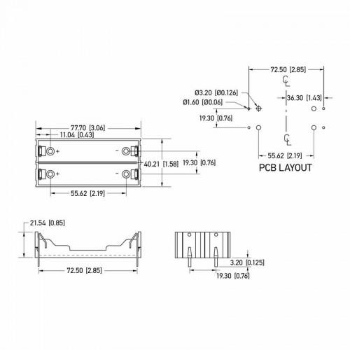 Батарейный отсек 2х18650 Li-ion (на плату)