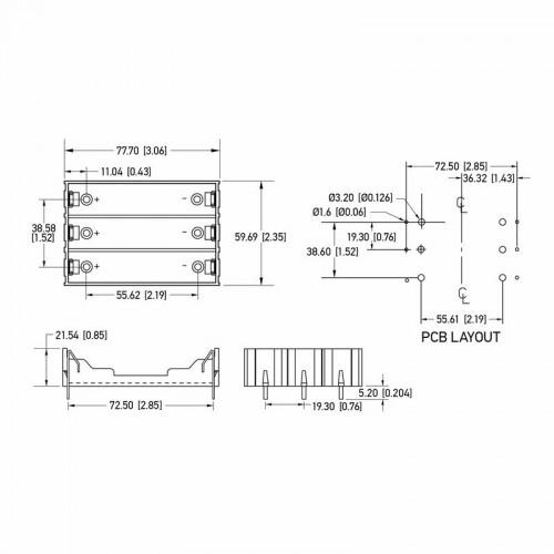 Батарейный отсек 3х18650 Li-ion (на плату)