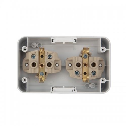 Блок из 2 розеток горизонтальный KRANZ Mini OG открытой установки с заземлением, керамика, IP54 белый
