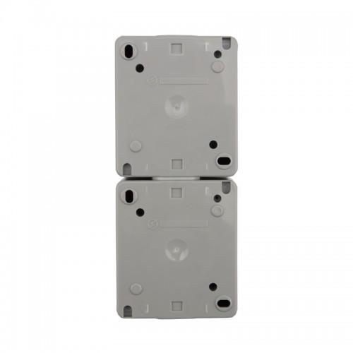Блок из 2 розеток вертикальный KRANZ INDUSTRIAL открытой установки с заземлением, IP54 серый