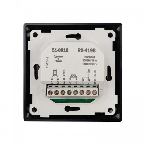 Терморегулятор сенсорный REXANT RX-419B, черный, совместим с Legrand серии Valena
