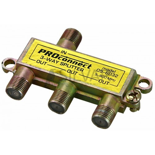 ДЕЛИТЕЛЬ  ТВ  х 3 под F разъём  5-900 МГц | 05-6032 | PROconnect