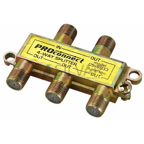 ДЕЛИТЕЛЬ  ТВ  х 4 под F разъём  5-900 МГц | 05-6033 | PROconnect