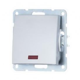 Выключатель 1-кл. c индикатором Экопласт LK60 серебристый металлик
