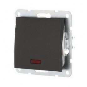 Выключатель 1-кл. c индикатором Экопласт LK60 черный бархат