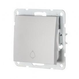 Выключатель-кнопка 1-кл. Экопласт LK60 серебристый металлик