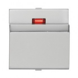 Накладка для выключателя гостиничного для включения с помощью карточки Экопласт LK60 серебристый металлик