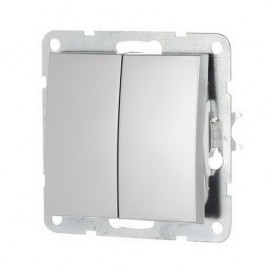 Выключатель 2-кл. Экопласт LK60 серебристый металлик