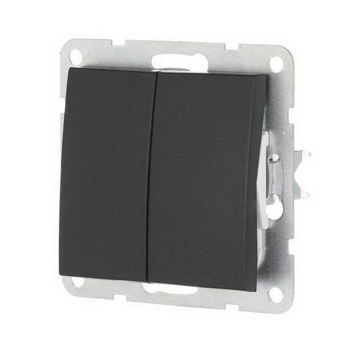 Выключатель 2-кл. Экопласт LK60 черный бархат