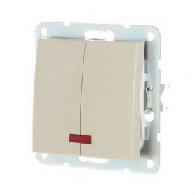 Выключатель 2-кл. c индикатором Экопласт LK60 бежевый