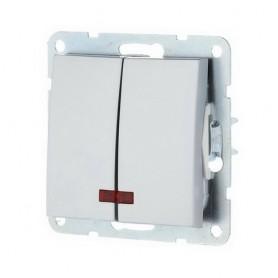 Выключатель 2-кл. c индикатором Экопласт LK60 серебристый металлик