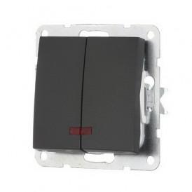 Выключатель 2-кл. c индикатором Экопласт LK60 черный бархат