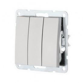 Выключатель 3-кл. Экопласт LK60 серебристый металлик