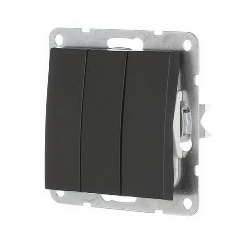 Выключатель 3-кл. Экопласт LK60 черный бархат