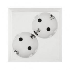 Розетка двойная с заземлением со шторками Экопласт LK60 белая