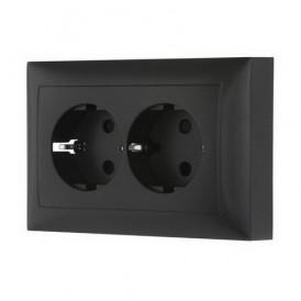 Розетка двойная прямая с заземлением со шторками Экопласт LK60 черный бархат