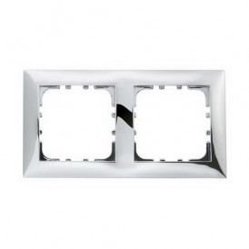 Рамка 2-постовая Экопласт LK60 блестящее серебро