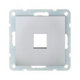 Накладка для RJ-разъема на 1 вход без разъема Экопласт LK60 серебристый металлик