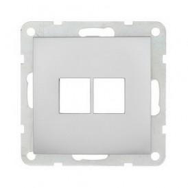 Накладка для RJ-разъема на 2 входа без разъема Экопласт LK60 серебристый металлик