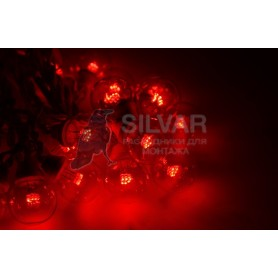 Гирлянда LED Galaxy Bulb String 10м, черный КАУЧУК, 30 ламп*6 LED КРАСНЫЕ, влагостойкая IP65| 331-322| NEON-NIGHT