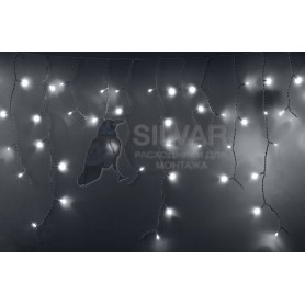 Гирлянда Айсикл (бахрома) светодиодный, 2,4 х 0,6 м, белый провод, 230 В, диоды белые, 88 LED|255-034| NEON-NIGHT