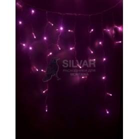 Гирлянда Айсикл (бахрома) светодиодный, 2,4 х 0,6 м, белый провод, 230 В, диоды розовые, 88 LED NEON-NIGHT|255-039| NEON-NIGHT