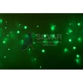 Гирлянда Айсикл (бахрома) светодиодный, 2,4 х 0,6 м, прозрачный провод, 230 В, диоды зелёные, 88 LED  | 255-054| NEON-NIGHT