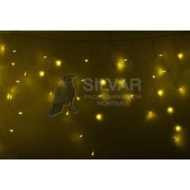 Гирлянда Айсикл (бахрома) светодиодный, 4,8 х 0,6 м, прозрачный провод, 230 В, диоды желтые, 176 LED  |255-141| NEON-NIGHT