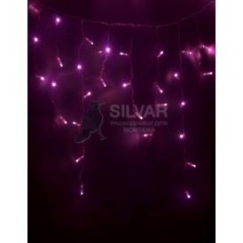 Гирлянда Айсикл (бахрома) светодиодный, 4,8 х 0,6 м, прозрачный провод, 230 В, диоды розовые, 176 LED  255-148  NEON-NIGHT