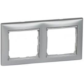 Рамка Legrand Valena 2 поста алюминий/серебряный штрих