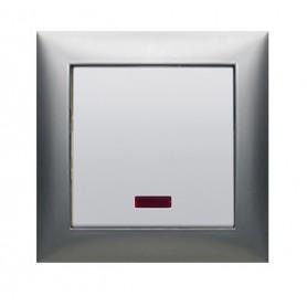 Выключатель 1-кл., c индикатором (схема 1L) 16 A, 250 B (серебристый металлик) LK60 | 860203| Экопласт