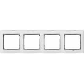 770494 Рамка Legrand Valena 4 поста белый/серебряный штрих