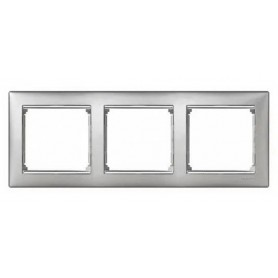 770333 Рамка 3 поста, горизонтальная, алюминий матовый, Valena