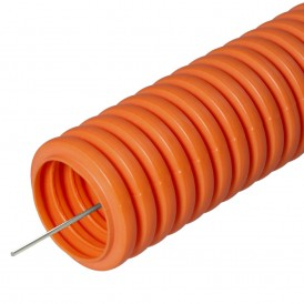 Труба гибкая гофрированная ПНД 25мм с протяжкой лёгкая безгалогенная (HF) (50м/2600м уп/пал) оранжевый | 22561 | Промрукав