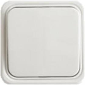Выключатель одноклавишный открытой установки, схема 1, (белый)